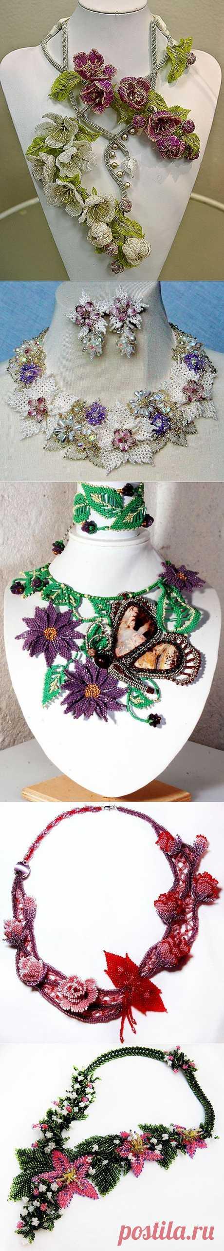 Красивая украшения с цветами   Бусы Магия