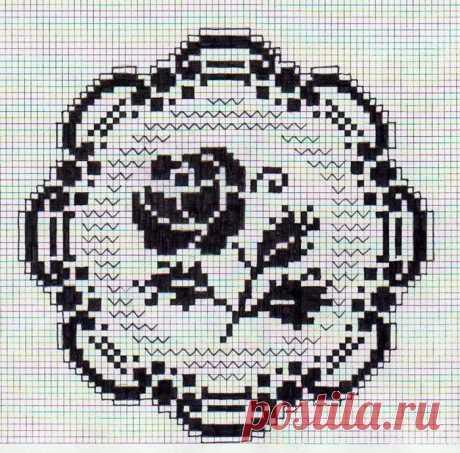 Вязание крючком - Филейное вязание - Филейные розы