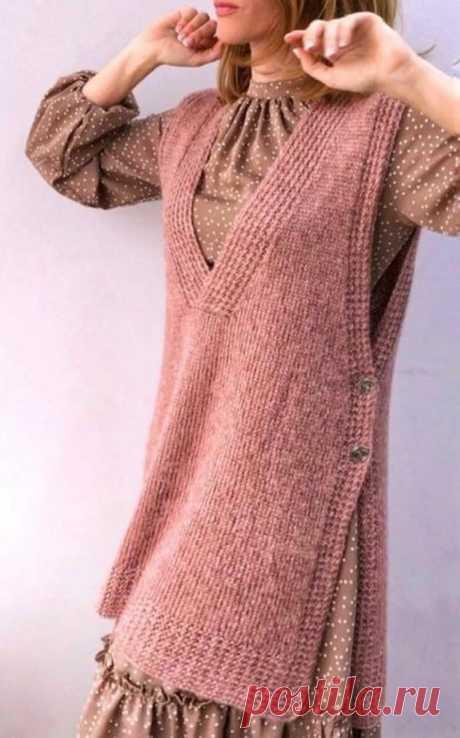 Модные, стильные, эффектные! Подборка вязаных жилетов и безрукавок | Идеи рукоделия | Яндекс Дзен