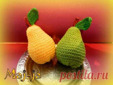 Вязаные фрукты: вязаная груша