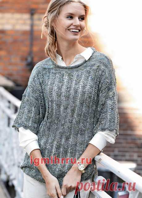 Шелковый пуловер с широкими укороченными рукавами. Вязание спицами