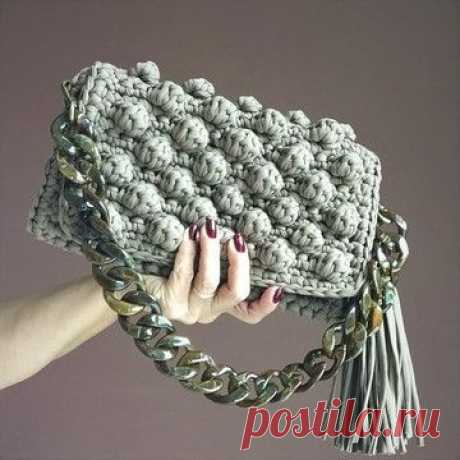 Bolsa de mão em crochê de fio de malha, ponto pipoca no Elo7 | crochettado (F94E3A)