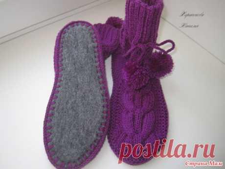 Вязанные носки на войлочной подошве. Спицы.