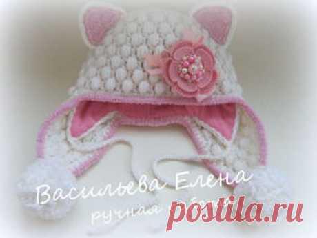 Вяжем крючком шапочку «Кошка». Часть 2: зимний вариант - Ярмарка Мастеров - ручная работа, handmade