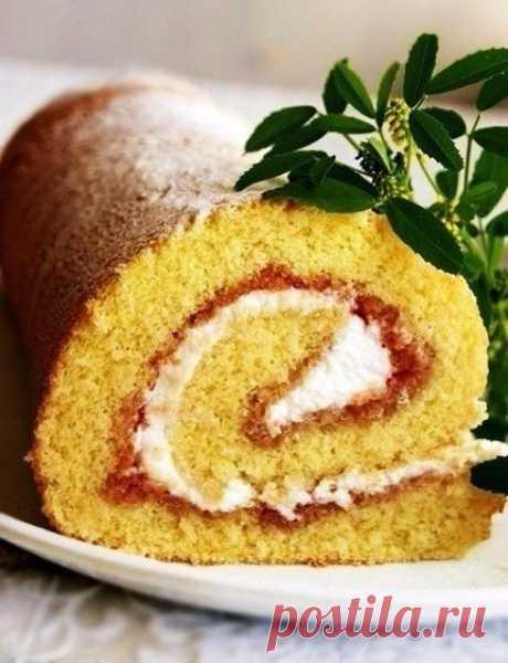 Как приготовить рулет или рецепт очень удачного бисквита - рецепт, ингредиенты и фотографии