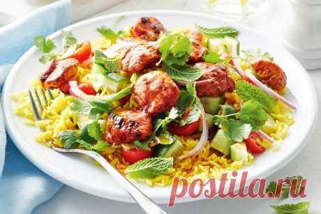 Tandoori chicken and cucumber rice salad