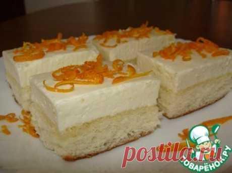 Бисквитное пирожное с апельсиновым суфле - кулинарный рецепт