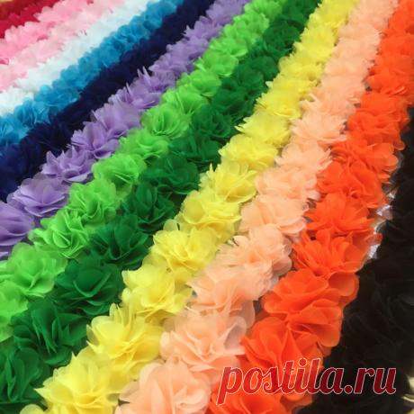 3D-кружево, шифоновые цветы. Диаметр цветка 4,5-5 см, отрезок - 26 цветков, 14 вариантов цвета