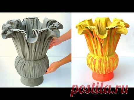 Crafts With Cement - Ideas For Making Beautiful Flower Pots From Old Fabric and Cement