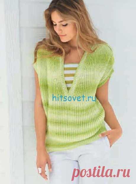 Пуловер с V-образным вырезом для девушки - Хитсовет Пуловер с V-образным вырезом для девушки. Вам потребуется: 350 (400) г желто-зеленой/бледно-зеленой (цв. 2) пряжи Fine Degrade (45% вискозы, 40% полиамида, 15% шелка, 225 м/50 г) фирмы Lana Grossa; прямые спицы № 4,5; круговые спицы № 4,5 длиной 60 см.
