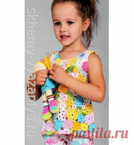Разноцветный топ для девочки в технике фриформ. Схема вязания крючком и описание.