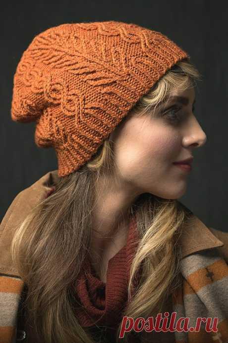 Вязаная шапка с узором «Ветви» — Shpulya.com - схемы с описанием для вязания спицами и крючком