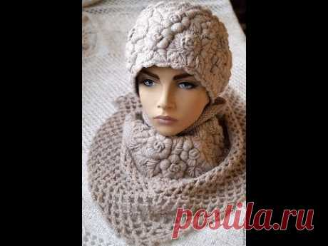 Красивые вязаные шапочки с вышивкой. Beautiful knitted hats with embroidery