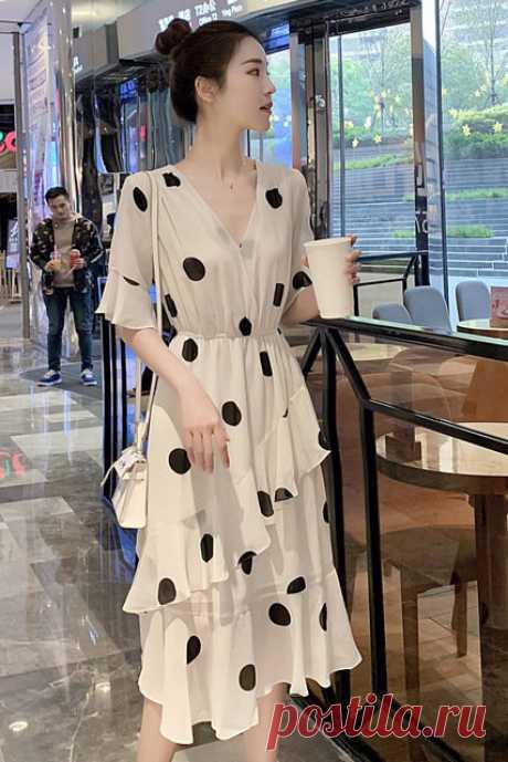 V-образный вырез с короткими рукавами Универсальная элегантная плиссированная талия Платье Ваш друг поделился с вами модным сайтом и дает вам скидку до 20%! требуй это сейчас.