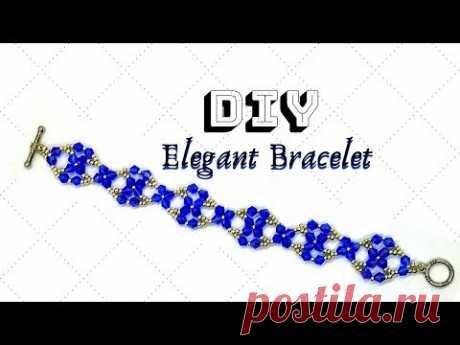 Simple beaded pattern. DIY beaded bracelet. Beginner jewelry tutorial.