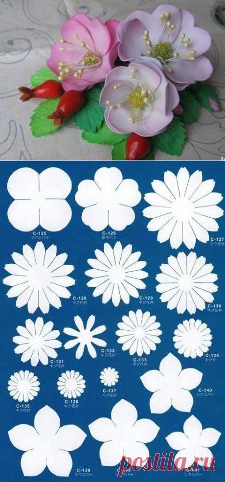 Шаблоны для создания цветов из фоамирана: большая коллекция