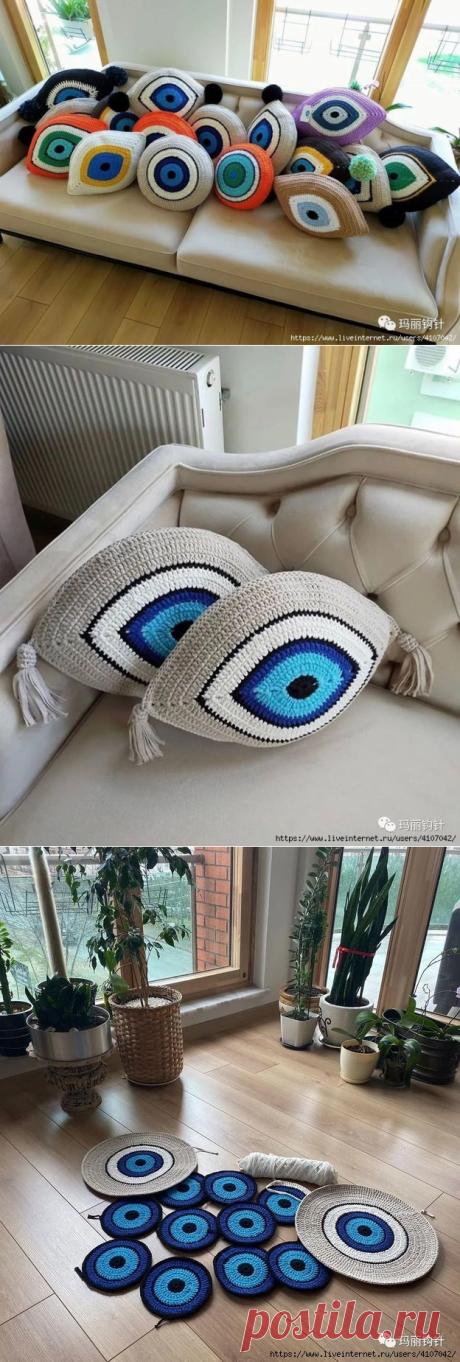 Декоративные вязаные подушки «всевидящее око» крючком — HandMade