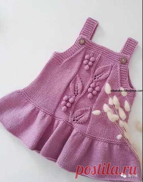 Вязаный сарафанчик для малышки спицами. Сарафан для девочки спицами 2-3 года
