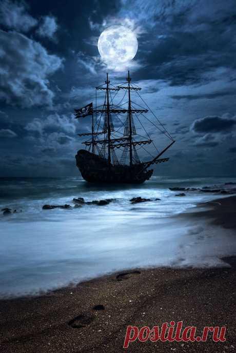 Black Pearl Pirate Ship Landing Under Full Moon by Justin Kelefas Black Pearl Pirate Ship Landing Under Full Moon Photograph by Justin Kelefas