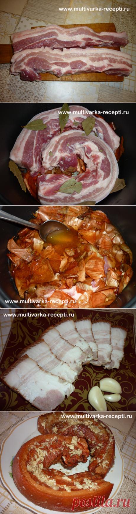 Как приготовить сало в луковой шелухе. Очень вкусное сало в мультиварке
