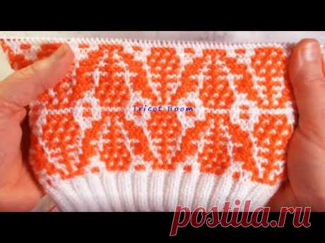 Цветочный орнамент / для каймы или всего изделия / Мозаика / Вязание спицами.