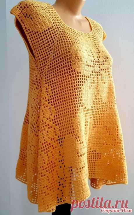 """Филейная туника """"Желтые цветы"""" Дорогие рукодельницы и любители вязания, если вы любите филейное вязание, как я , то предлагаю вашему вниманию очередную филейную работу, увидев фото на просторах интернета, мне захотелось срочно"""
