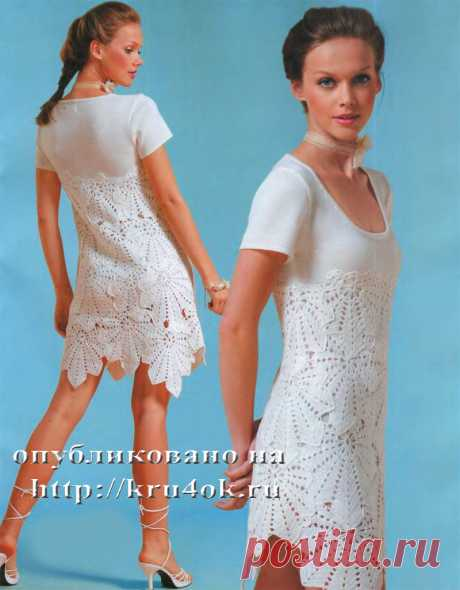 Selection of knitted dresses a hook from motives. In article the 7th dress with schemes and the description