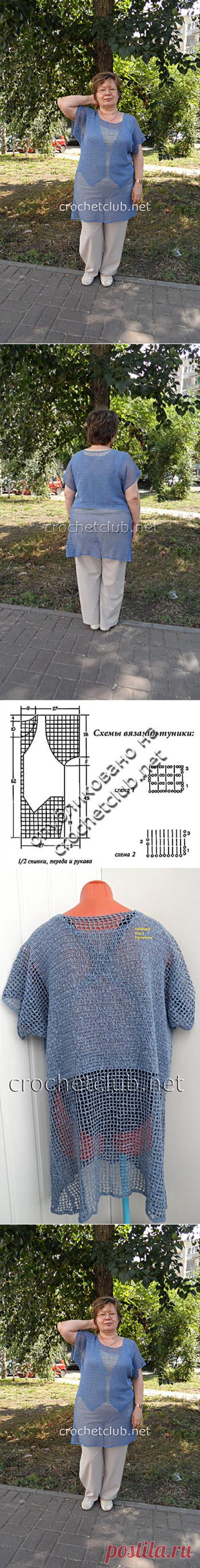 Вязаная туника цвета «Джинс» - Вязание Крючком. Блог Настика