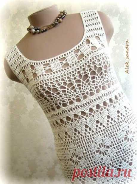 Ажурное платье в технике филейного  вязания!! Ажурное белое  платье связано в технике филейного вязания. Платье авторское, здесь представлено только как идея, предложено несколько схем узоров. Автор этого изделия: Alek_sandra из Клуба Осинки