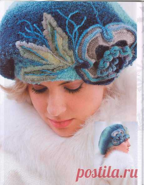 """По страницам """"Журнала МОД""""... Завершаем знакомство с номером 583 шапочками Ирины Батраковой. Кроме регулярного вязания с элементами фриформа она использует в своих беретах вышивку и валяние"""