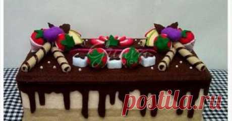 Kotak Tisu Flanel - Chocolate Mousse Cake Kotak tisu hias flanel cake coklat, full buah dan astor