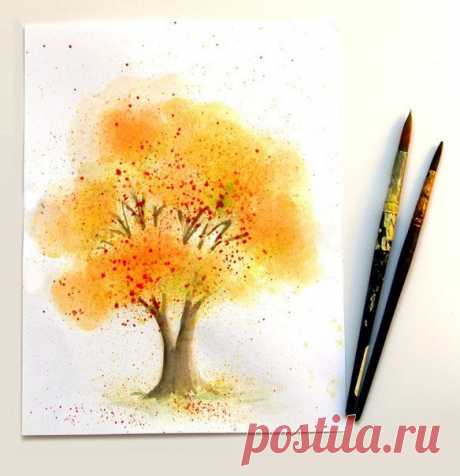 Пошаговые уроки рисования. Дерево акварелью / Уроки рисования для начинающих карандашом, поэтапный метод / КлуКлу. Рукоделие - бисероплетение, квиллинг, вышивка крестом, вязание