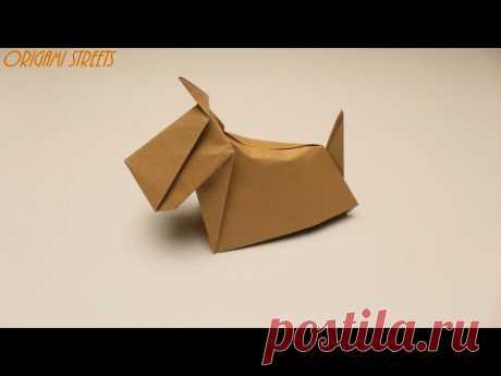 Как сделать собаку из бумаги. Оригами собака из бумаги.
