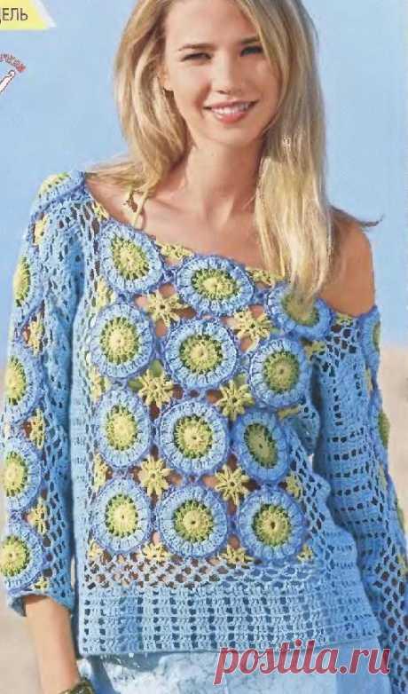 Пуловер с мотивами – Мир вязания и рукоделия