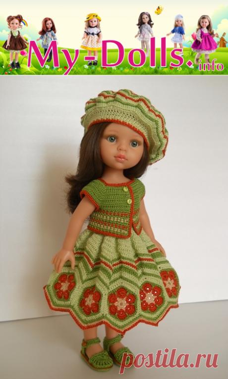 Вязаный наряд для куклы Paola Reina по писанию О.Лифенко - берет, сарафан и сандалии. Обзор и работа Ольги Портновой.