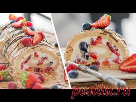ТОРТ РУЛЕТ ПАВЛОВА  - вкуснейший десерт из безе с ягодами и сливочным кремом   рецепт Pavlova