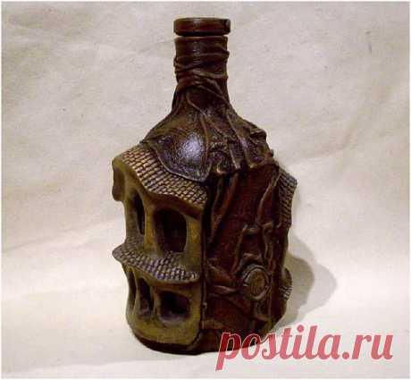 Бутылка. Кожа и керамика