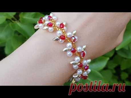 Браслет из бусин и бисера/Бисероплетение/Beaded bracelet/DIY/Handmade/Pearl bracelet