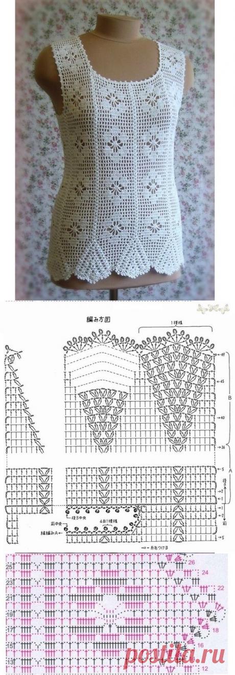 Посмотрите, какой красивый и элегантный блуза вязания крючком. Цветочные точек с пряжи. очень милые - узоры вязания крючком бесплатно
