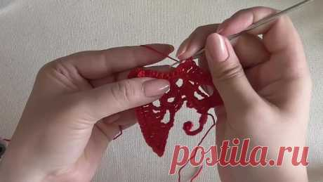 Butterfly knitted a hook with rectangular wings. Video lesson. Irish lace.