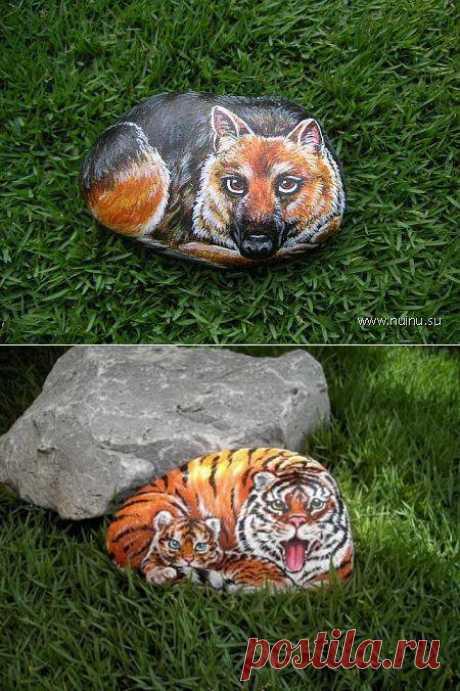Como pintar las piedras para la decoración del jardín.