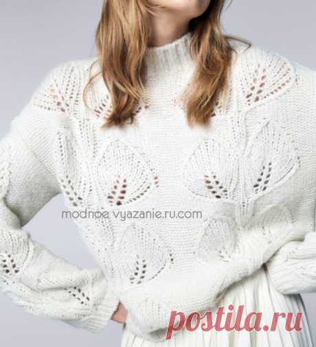 Пуловеры и кофточки спицами с ажурными листьями - Klubok - Modnoe Vyazanie.ru.com