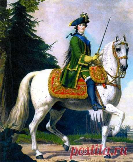 Конный портрет Екатерины II (1729-1796). Художник В. Эриксен. 1762 г.