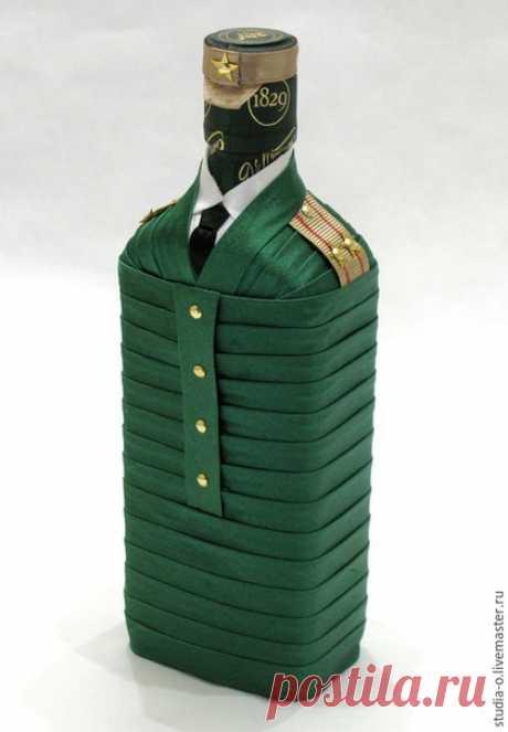 """Купить Бутылка """"Подполковник"""" - зеленый, подарок военному, подполковник, подарок мужчине, декор бутылки"""