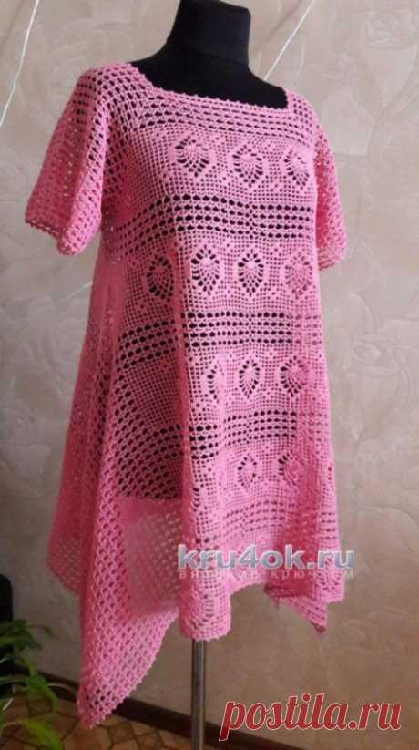 Розовая туника крючком, Филейное вязание