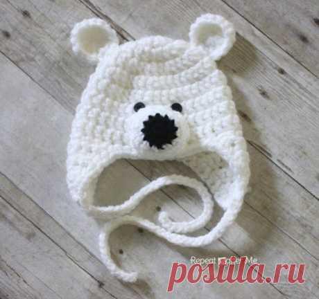 Вязаная крючком шапка «Полярный мишка»