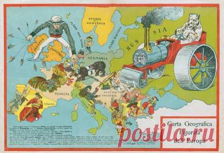 Карикатурные карты — неполиткорректные шутки столетней давности