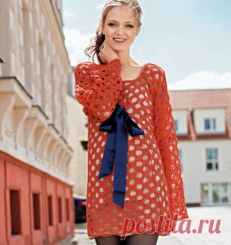 Ажурное мини-платье с бантом - схема вязания крючком. Вяжем Платья на Verena.ru