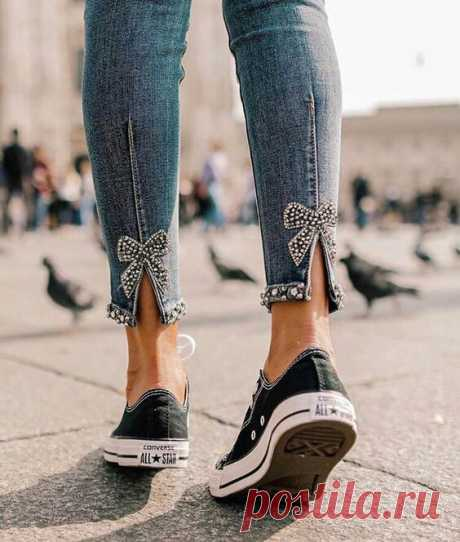 Декоративная отделка низа джинсов Модная одежда и дизайн интерьера своими руками