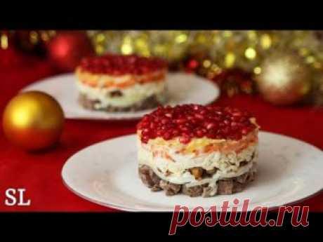 Слоеный новогодний салат Красная шапочка рецепт с фото